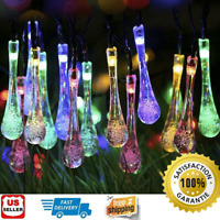 Outdoor 20ft 30 LED Solar String Ball Lights Waterproof Warm White Garden Decor