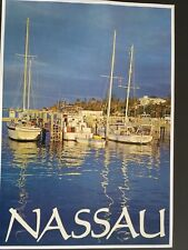 ORIGINAL 1960s NASSAU BAHAMAS TRAVEL POSTER BOAT HARBOR  VINTAGE 60s SAILBOAT