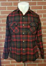 Pendleton 1960 Long Sleeve Flannel Board Shirt 2-Pockets USA 100% Virgin Wool