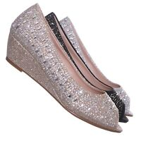 Fisher1 Rhinestone Crystal Low Wedge Pump - Women Peep Toe Shinny Diamond Shoe