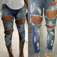 Women's Destroy Distressed Ripped Skinny Stretch Denim Jeans Pants Trousers S-XL