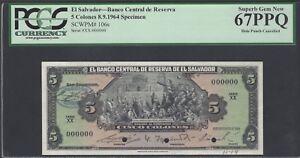 El Salvador 5 Colones 8-9-1964 P106s  Prefix XX Specimen Uncirculated
