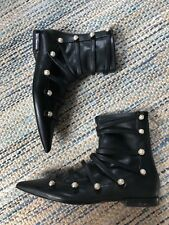 Zara Black Pointed Toe Flat Strappy Pearl Button Ankle Boots Size EU 36/ US 6
