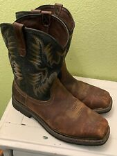 MENS ARIAT SQUARE STEEL TOE COWBOY BROWN BOOTS SIZE 12 EE