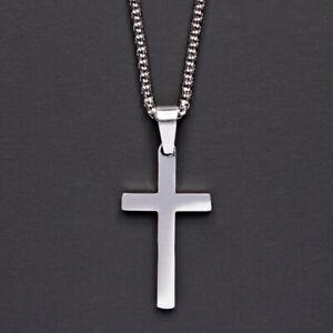 WOODII Collana Uomo Acciaio Inox Croce Crocifisso Gold/Silver