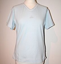 NEW VINTAGE LADIES BABY BLUE COTTON V NECK ADIDAS T-SHIRT   UK 14