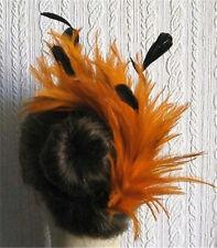 orange black feather fascinator comb hair clip headpiece wedding party piece