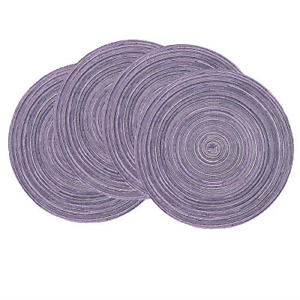 SHACOS Round Placemats Set of 4 Round Table Placemats Braided Cotton Place Mats