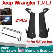 "97-06 Jeep Wrangler TJ Steel Windshield Mounting Brackets for 52"" LED Light Bar"