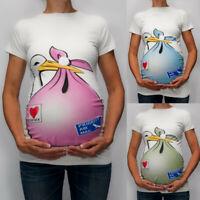 Women Maternity Funny Cartoon Short Sleeve Casual Blouse Pregnant Tee Shirt Tops