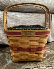 Longaberger 1995 Christmas Collection Cranberry Basket + Protector, Liner & Lid
