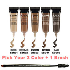 "2NYX Waterproof Eyebrow Gel "" Pick Your 2 Color "" + Angled brow Spoolie brush"