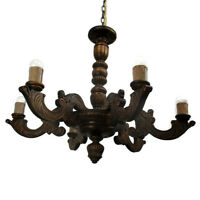 Vintage Ornate Hand Carved wood Chandelier 6 lights arms Ceiling Light lamp