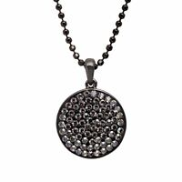 Crystaluxe Disc Pendant with Satin Swarovski Crystals in Sterling Silver