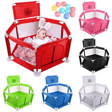 Folding Baby Safety Playpen Play Yard Kid Activity Center Toddler With 10 Balls