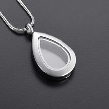 Tear Drop Keepsake Cremation Urn Glass Stainless Steel Pendant Necklace