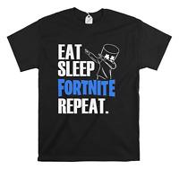 Kids Fortnite Inspired Funny T-Shirt Eat Sleep Fortnite Repeat Gamer Top Gift