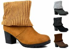 New Ladies Solid Heel ANKLE BOOT, Turnover Material, COSY and ONLY £9, Sizes 4-7