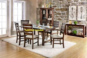 Rustic Slat Back Design 4pc Side Chairs Ivory Fabric Seat Rich Walnut Solid Wood