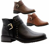 Ladies Womens Casual Block Heels Flat Ankle Chelsea Boots Work Office Shoes Size