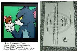 """Warner Bros. Looney Tunes lithograph """"TOM & JERRY"""" #131/350 COA. Framed / Matted"""