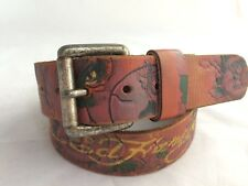 Ed Hardy Brown Leather Belt with Flowers and Hummingbird Print size M 34