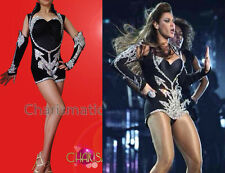 """Silver Sequined Black Leotard with Half Attached Sleeves like Beyonce """"Halo"""""""