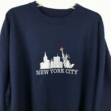 New York City Twin Towers Sweatshirt 2XL Blue Embroidered Skyline Spell Out 911