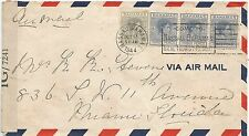 BAHAMAS 1944 CENSORED COVER MULTI-FRANKED OPENED BY EXAMINER,SEE SCANS