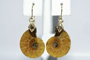 16.10CT NATURAL FOSSILIZED SNAIL & COGNAC DIAMOND TWO-STONE DANGLE EARRINGS 14K
