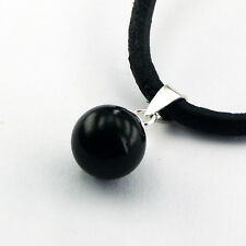 Anhänger 925er Silber Sterlingsilber schwarz Achat 18mm Onyx
