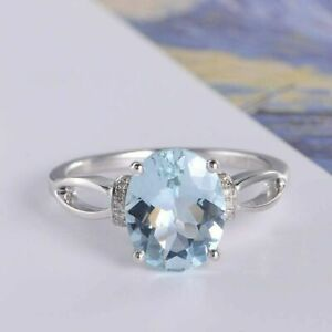 2.50Ct Oval Cut Aquamarine Solitaire Engagement Ring Solid 14K White Gold Finish