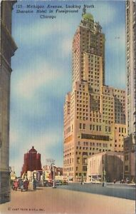 Linen postcard, 1955 - Michigan Avenue, Looking North, Sheraton Hotel, Chicago