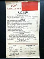1941 EITEL RESTAURANT vintage dinner menu CHICAGO, ILLINOIS, Old Heidelberg Room