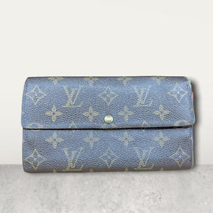 LV3074 LOUIS VUITTON Brown Monogram Canvas Leather Sarah Long Envelope Wallet