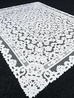 "White 72x144"" Embroidered Polyester Cutwork Tablecloth 12 Napkins Wedding Party"