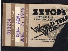 1976 Zz Top Concert Ticket Stub Kentucky Fair Louisville World Wide Texas Tour