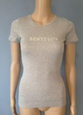 T-shirt Benetton gris en coton bleu taille XS neuf