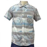 Men's Shirt-Hawaiian Shirt-Vintage blue PALM TREE BEACH SUMMER SURF