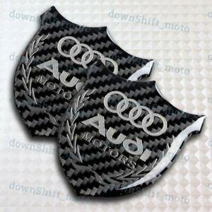 For AUDI 3D Carbon Fiber Car Front Body Trunk Rear Side Badge Emblem Sticker X2