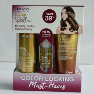 JOICO K-PAK COLOR THERAPY KIT Shampoo, Condition & Luster lock glossing oil 10OZ