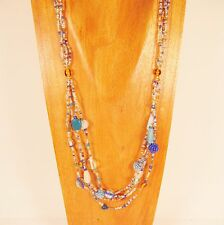 "& Gold Handmade Seed Bead Necklace 26"" Classic Vintage Multi Strand Blue"