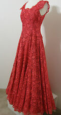 Vintage Screen Worn Gown 1950's Red Lace Sequin Trim Drop Waist Taffeta Lined XS