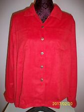 *Chico's Design red FAUX LEATHER 2 Pockets Button Down Shirt Top Women Size 2