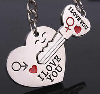 "2PCS/Set Couples Lovers Metal Key Chain Ring ""Key To My Heart"" I LOVE YOU Silver"
