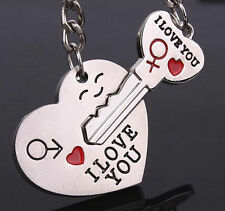 "Silver ""I Love You"" Heart & Key Couple Key Chain Ring Keyring Keyfob Lover Gifts"
