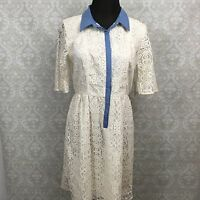 I Heart Ronson 8 NWT Womens Eyelet Collared Quarter Sleeve Ivory Dress