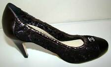 CHANEL New Black Leather Pumps Shoes with Black Lace Overlay/Pearl CC Logo 38
