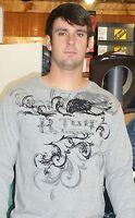 B. TUFF JEANS Logo Men's Gray Grey Long Sleeve Graphic Tee T-Shirt 000113 NWT