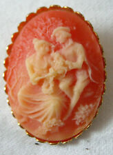 Vintage style ladies pink oval cameo brooch, Victorian theatre/costume jewellery